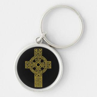 Croix celtique en bronze porte-clé rond argenté