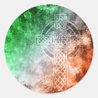 Croix celtique irlandaise sticker rond