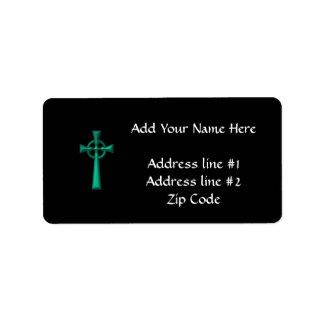 Croix celtique métallique verte étiquettes d'adresse