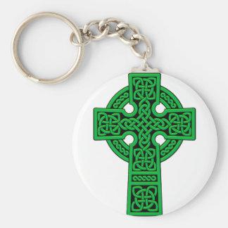 Croix celtique verte porte-clé rond