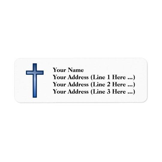 Croix chrétienne avec le bleu/gradient étiquette d'adresse retour