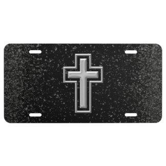 Croix chrétienne de ton argenté sur l'étincelle no