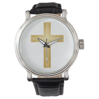 Croix chrétienne d'or montres bracelet