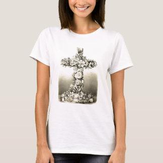 Croix chrétienne florale vintage 1869 de Pâques T-shirt