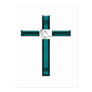 Croix colorée par vert cartes postales