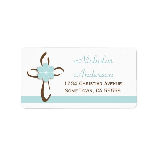 Croix contemporaine simple avec l'adresse bleue étiquette d'adresse