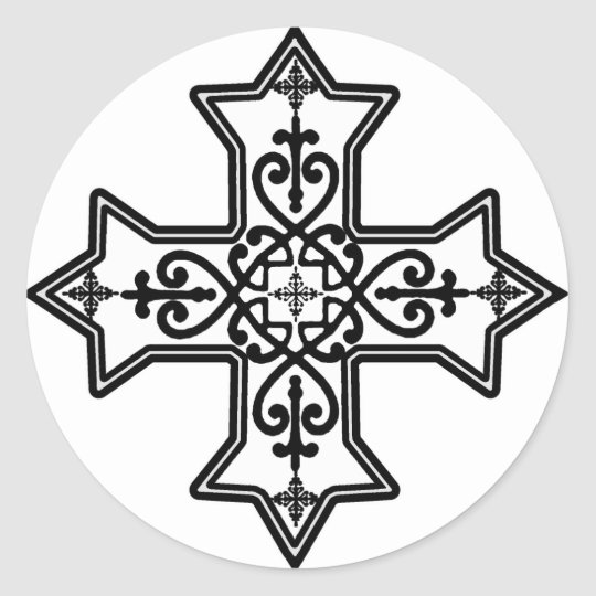 croix copte noire et blanche sticker rond zazzle. Black Bedroom Furniture Sets. Home Design Ideas