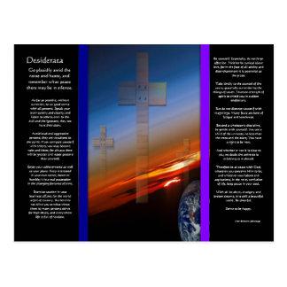 Croix de DESIDERATA au-dessus de carte postale de