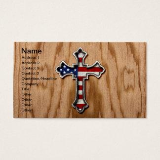Croix de drapeau des Etats-Unis Cartes De Visite