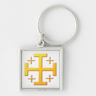 Croix de Jérusalem croix Jérusalem Porte-clé Carré Argenté