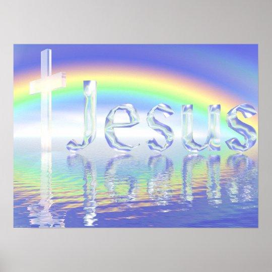 Croix de Jésus d'arc-en-ciel Poster