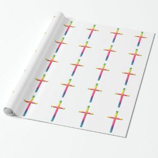 Croix de mosaïque d'arc-en-ciel papier cadeau