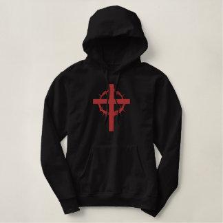 Croix de passion pull à capuche brodé