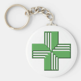 Croix de pharmacie porte-clé rond