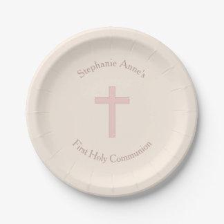 Croix de rose en pastel de communion assiettes en papier