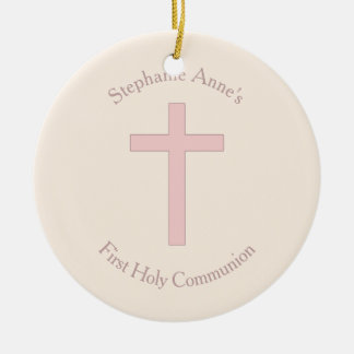 Croix de rose en pastel de communion ornement rond en céramique