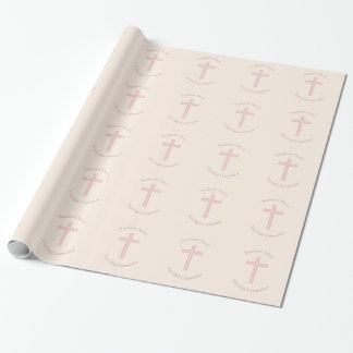 Croix de rose en pastel de communion papier cadeau noël