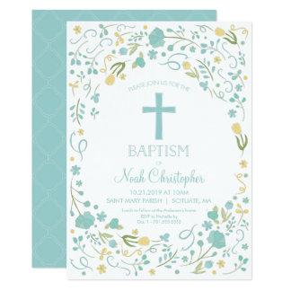 Croix d'invitation du baptême du garçon belle, carton d'invitation  12,7 cm x 17,78 cm