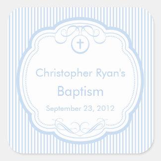 Croix douce dans le bleu de garçon de joint de sticker carré
