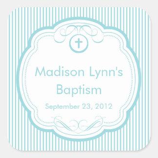 Croix douce dans le joint de faveur de baptême de sticker carré