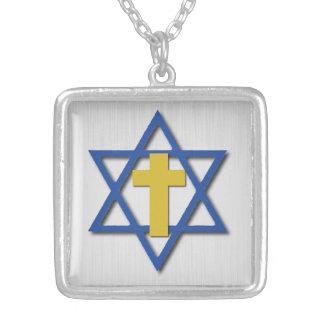 Croix due Messie avec l'étoile de David Pendentif Carré