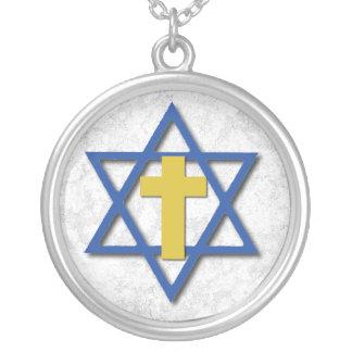 Croix due Messie avec l'étoile de David Pendentif Rond