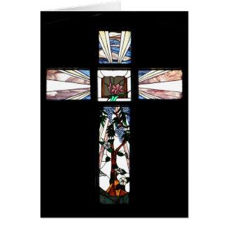 Croix en verre souillé carte de vœux