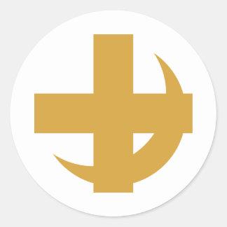 Croix et croissant de Chi de lambda alpha Sticker Rond