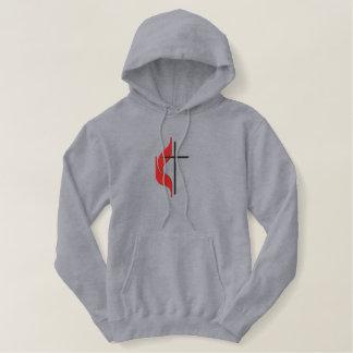 Croix et flamme sweatshirt à capuche avec broderie