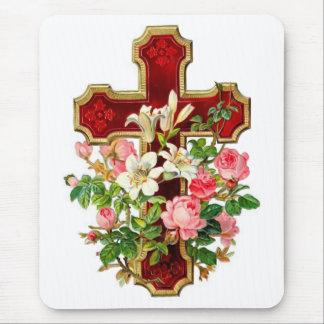 Croix florale tapis de souris