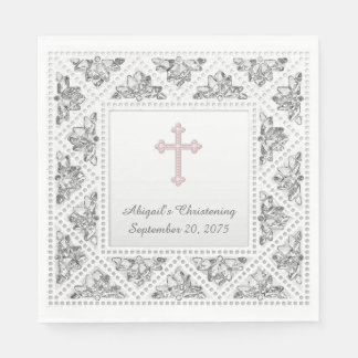 Croix grise et rose élégante serviette en papier