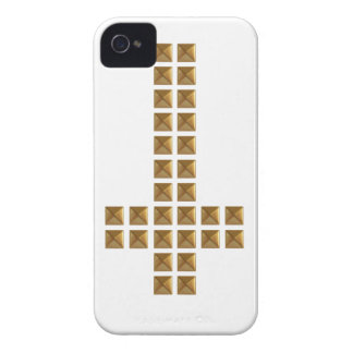 Croix inversée cloutée par or coques iPhone 4