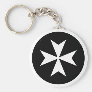 Croix maltaise blanche porte-clé rond