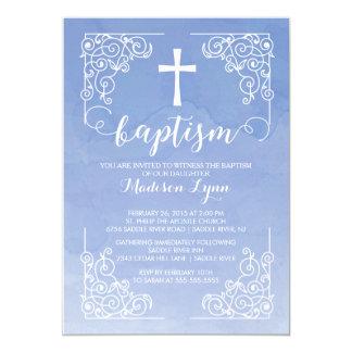 Croix moderne de baptême de baptême d'aquarelle carton d'invitation  12,7 cm x 17,78 cm