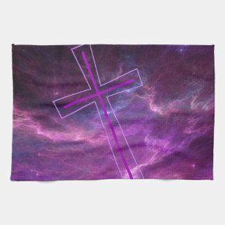 Croix pourpre en cieux pourpres linges de cuisine