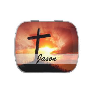 Croix religieuse de Pâques au coucher du soleil Boite De Bonbons Jelly Belly