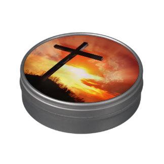 Croix religieuse de Pâques au coucher du soleil Boite Jelly Belly