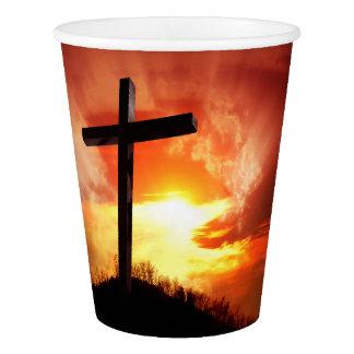 Croix religieuse de Pâques au coucher du soleil Gobelets En Papier