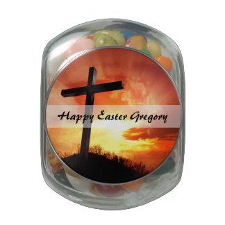 Croix religieuse de Pâques au coucher du soleil Pot En Verre