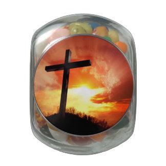 Croix religieuse de Pâques au coucher du soleil Pots En Verre Pour Bonbons