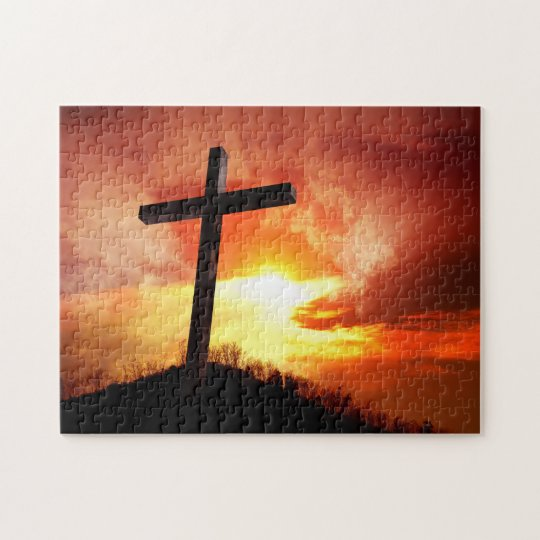 Croix religieuse de Pâques au coucher du soleil Puzzle