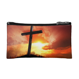 Croix religieuse de Pâques au coucher du soleil Trousse De Maquillage