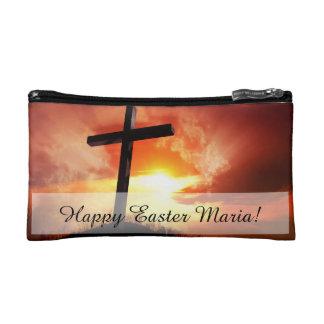 Croix religieuse de Pâques au coucher du soleil Trousses De Toilette