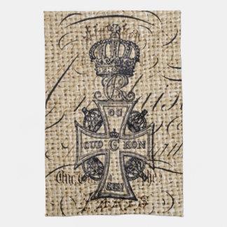 Croix religieuse de toile de jute vintage chic linges de cuisine