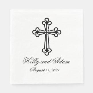 Croix religieuse personnalisée épousant la serviette jetable