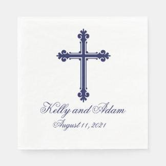 Croix religieuse personnalisée épousant la serviettes en papier