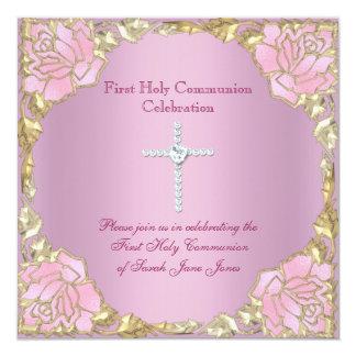 Croix rose 2 d'argent d'or de première sainte carton d'invitation  13,33 cm