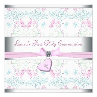 Croix rose blanche premier Commun de coeur rose bl Invitations Personnalisées