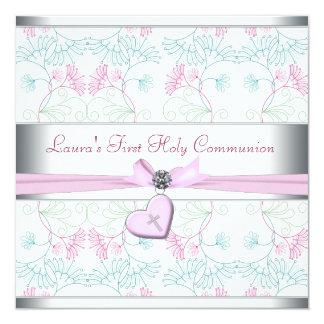 Croix rose blanche premier Commun de coeur rose Invitations Personnalisées