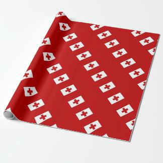 Croix-Rouge de drapeau d'île du Tonga Papier Cadeau